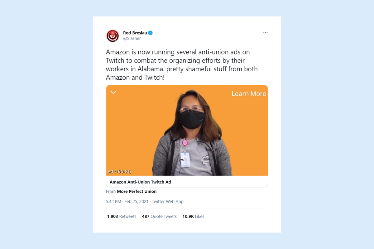 Twitch, owned by Amazon, first approves Amazon's anti-union ads then pulls them