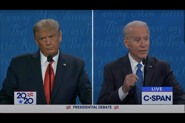 Video still of Thursday's finale presidential debate