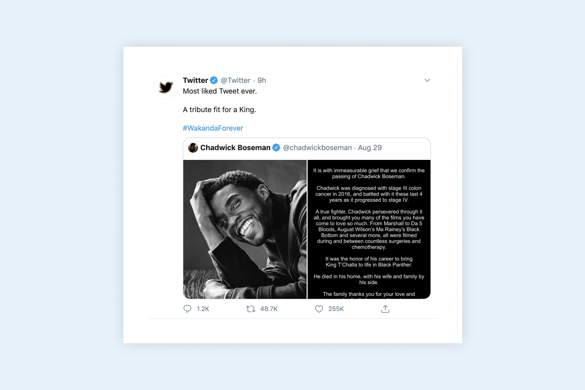 """A tribute fit for a King"" – Tweet honoring Chadwick Boseman now most-liked Tweet"