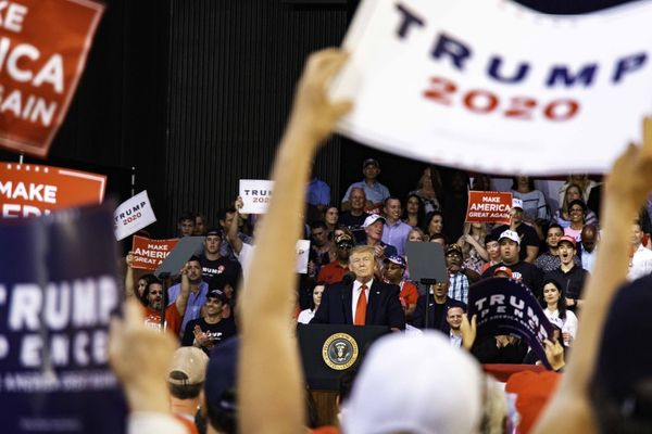 Donald J. Trump holding a rally in Panama City Beach, Florida, on May 8, 2019