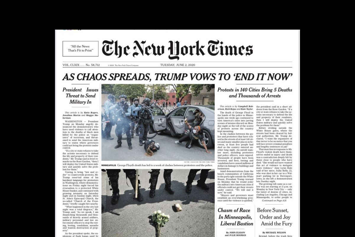 NYT criticized for extenuated headline regarding White House attack on peaceful protestors