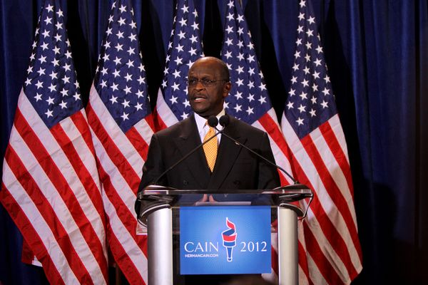 Herman Cain speaking at a press conference in Scottsdale, Arizona on November 8, 2011