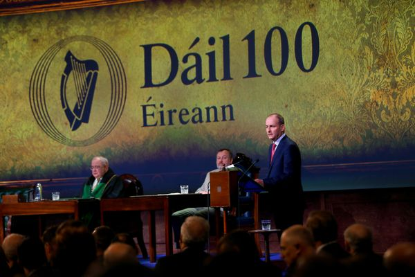 Micheál Martin speaking at the Ceremonial Commemoration of the Centenary of the First Meeting of Dáil Éireann