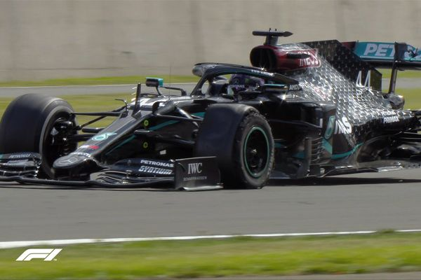 Lewis Hamilton car, with a punctured tire