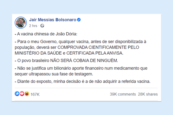 Bolsonaro announces that Brazil won't buy Covid-19 vaccine from China