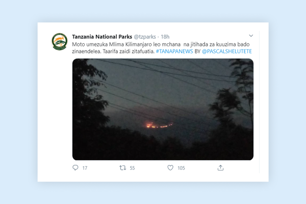 Fire has erupted on Mount Kilimanjaro