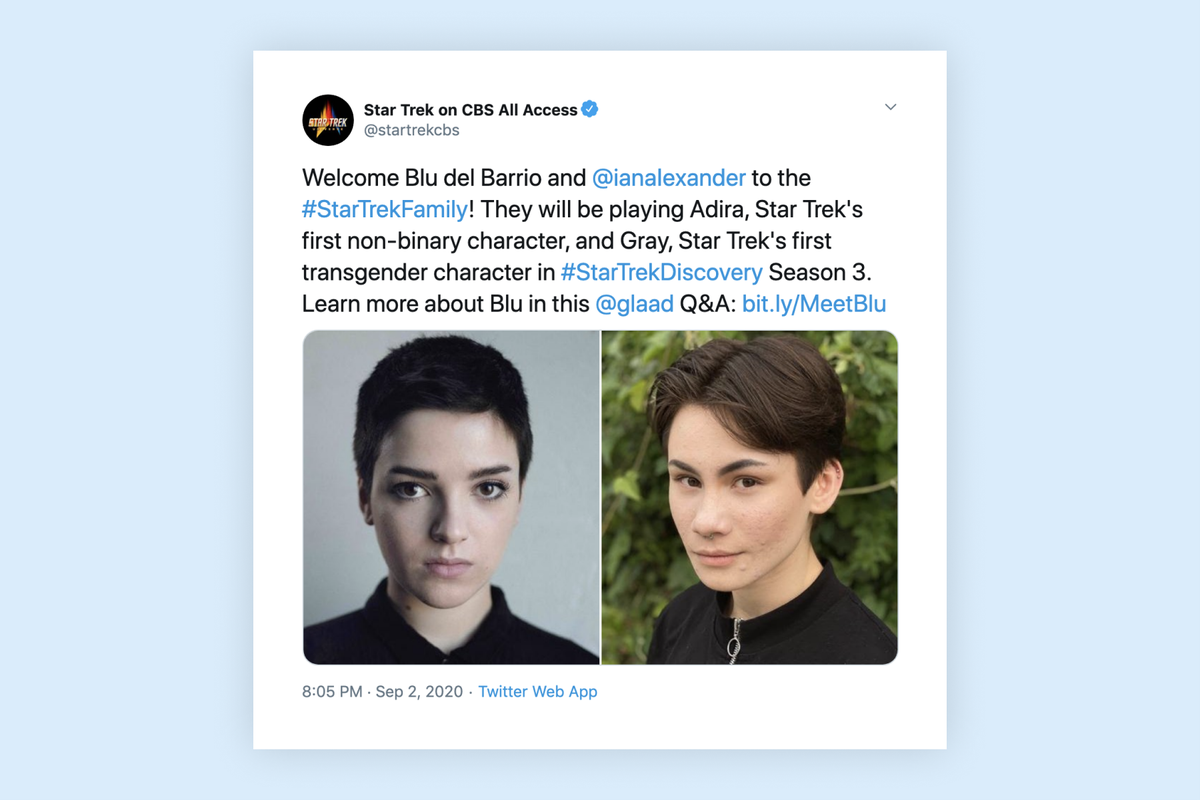 """""""Star Trek: Discovery"""" introduces first-ever transgender and non-binary characters"""