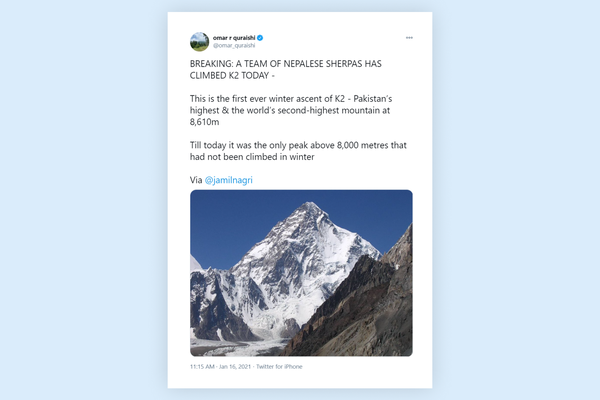 Ten Nepalese make first winter ascent of K2
