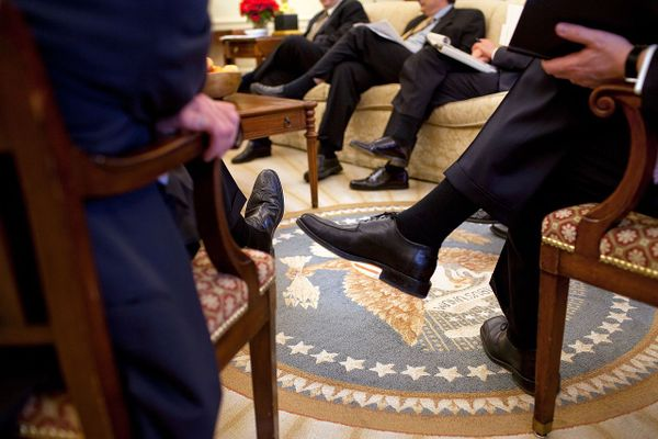 An Economic Daily Briefing meeting in the Oval Office, March 11, 2009.