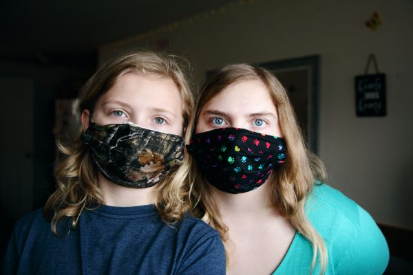 Women wearing non-medical masks