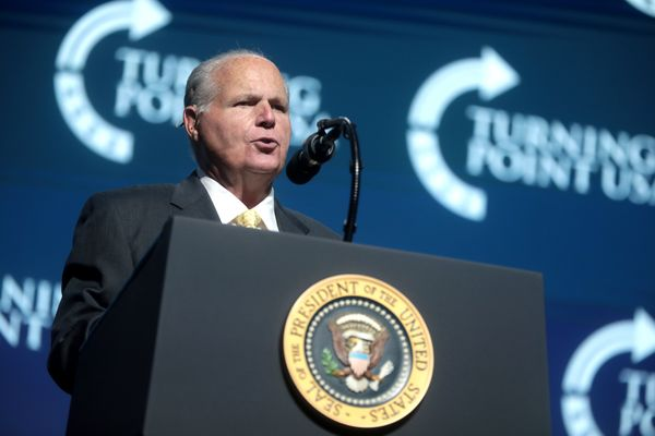 Rush Limbaugh speaking with attendees at the 2019 Student Action Summit
