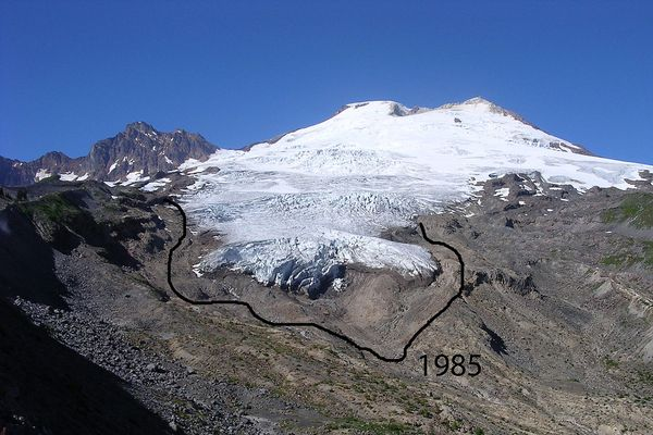 Easton Glacier on Mount Baker in the North Cascades of Washington taken in 2003. It shows the terminus position of the glacier in 1985 as well.