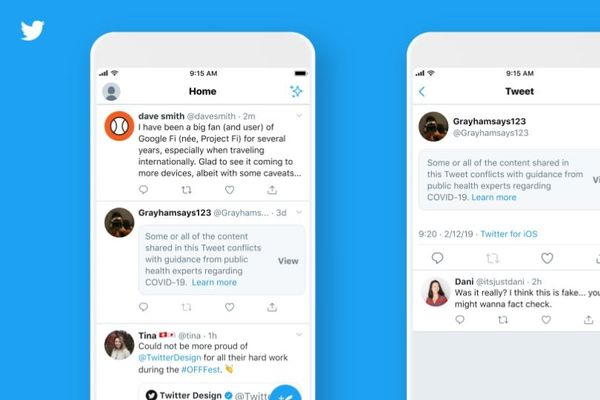 Examples of the new labels to be displayed by Twitter