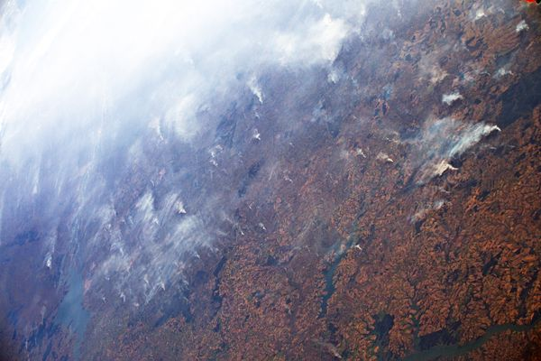 Amazon fires captured from the ISS on August 24, 2019.