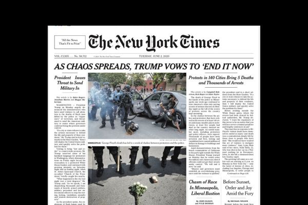 The A1 page of the New York Times, June 2, 2020