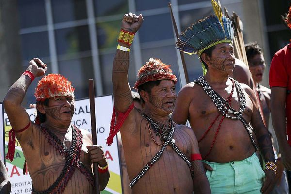 Members of the Munduruku people demonstrating in Brasilia