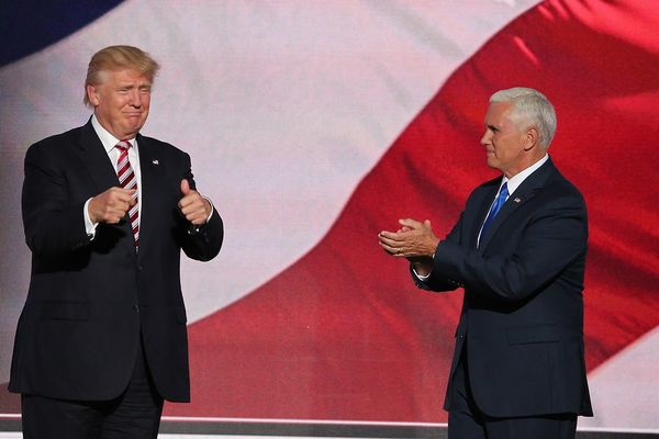 Mike Pence applauding Donald Trump at the 2016 RNC