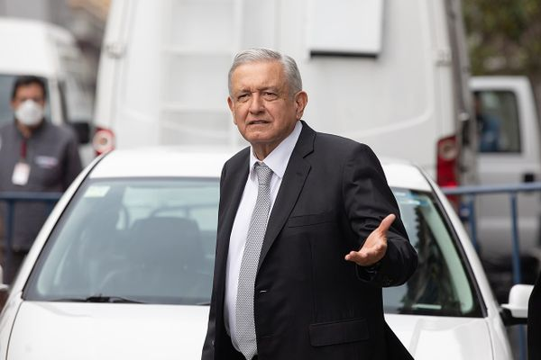 The President, Andrés Manuel López Obrador at the Palacio del Ayuntamiento in Mexico City, 	24 June 2020