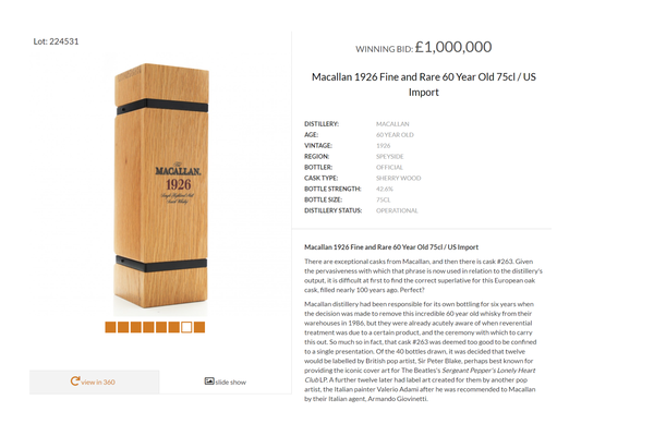 'Macallan 1926 Fine and Rare' 60-Year-Old Whisky auctioned for one million pounds