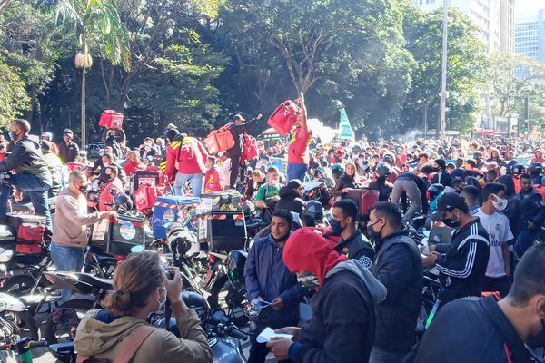 Brazilian delivery apps workers go on strike