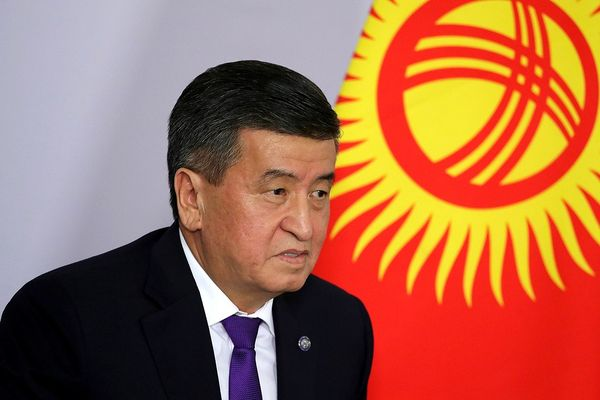 President of Kyrgyzstan Sooronbai Jeenbekov during a meeting with President of Russia Vladimir Putin, 2018