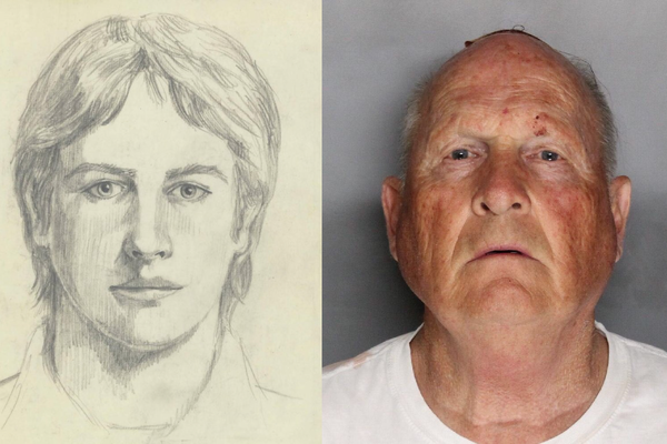 Sketch of the Original Night Stalker, right: mugshot of Joseph DeAngelo