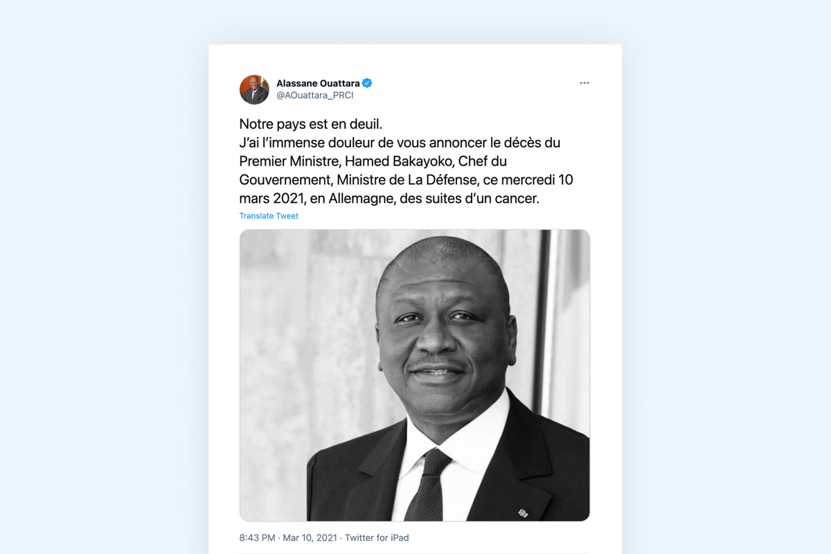 Côte d'Ivoire: PM Hamed Bakayoko has died at the age of 56