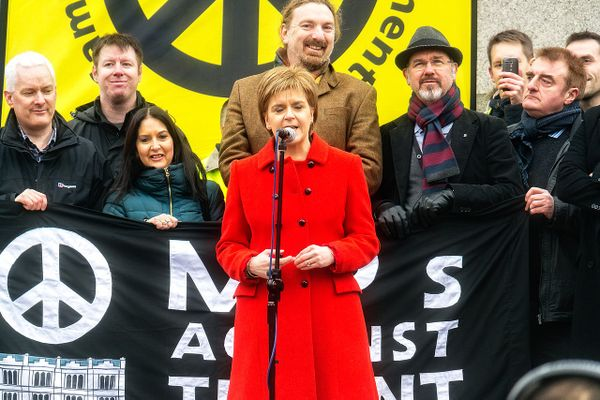 Scotland's First Minister Nicola Sturgeon at the #StopTrident rally at Trafalgar Square on Saturday 27th February 2016.