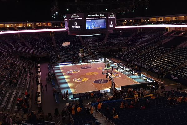 View from Mercedez Benz Arena before an Alba Berlin game