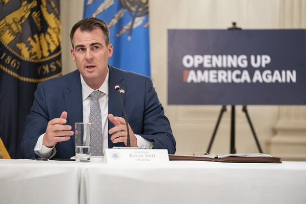 Oklahoma Governor Kevin Stitt address his remarks during a roundtable discussion with Governors and small business owners on the reopening of America's small businesses Thursday, June 18, 2020, in the State Dining Room of the White House.