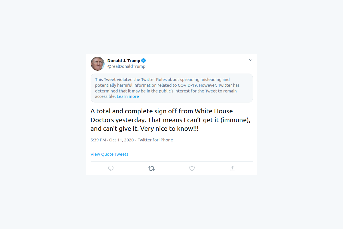 Twitter flags Trump post for violating its rules on Covid-19 information