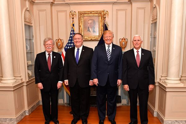 Former National Security Adviser John Bolton with Mike Pompeo, Donald J. Trump and Mike Pence (left to right) at the U.S. Department of State in Washington, D.C., on May 2, 2018