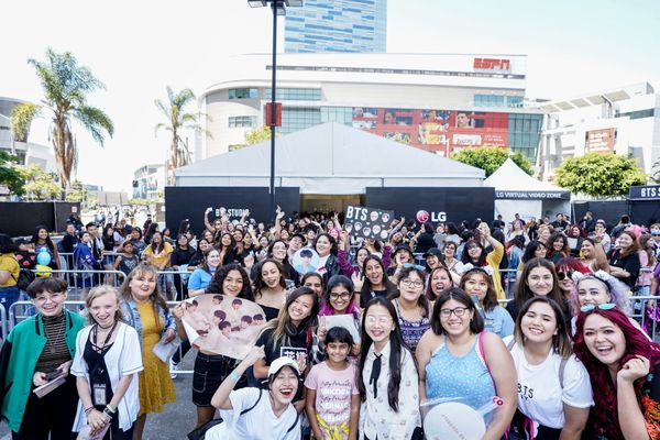 Fans at the BTS world tour concert 'Love Yourself' in Los Angeles
