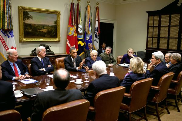 President Barack Obama attends a New START Treaty meeting hosted by Vice President Joe Biden in the Roosevelt Room of the White House, Nov. 18, 2010.