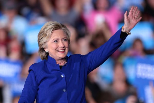 Former Secretary of State Hillary Clinton speaking with supporters at a campaign rally at the Intramural Fields at Arizona State University in Tempe, Arizona.
