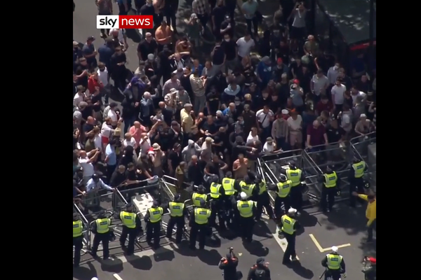 Protesters clash with police in London