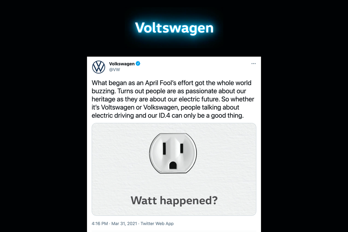 "VW admits to ""Voltswagen"" rebranding was a stunt, issues apology"