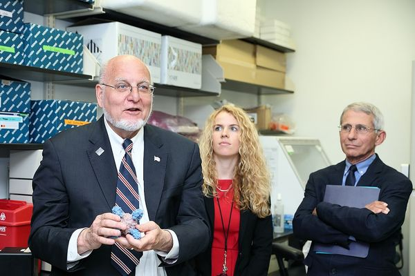 CDC Director Dr. Robert Redfield (l) with Dr. Anthony Fauci (r) at the Vaccine Research Center, 2018