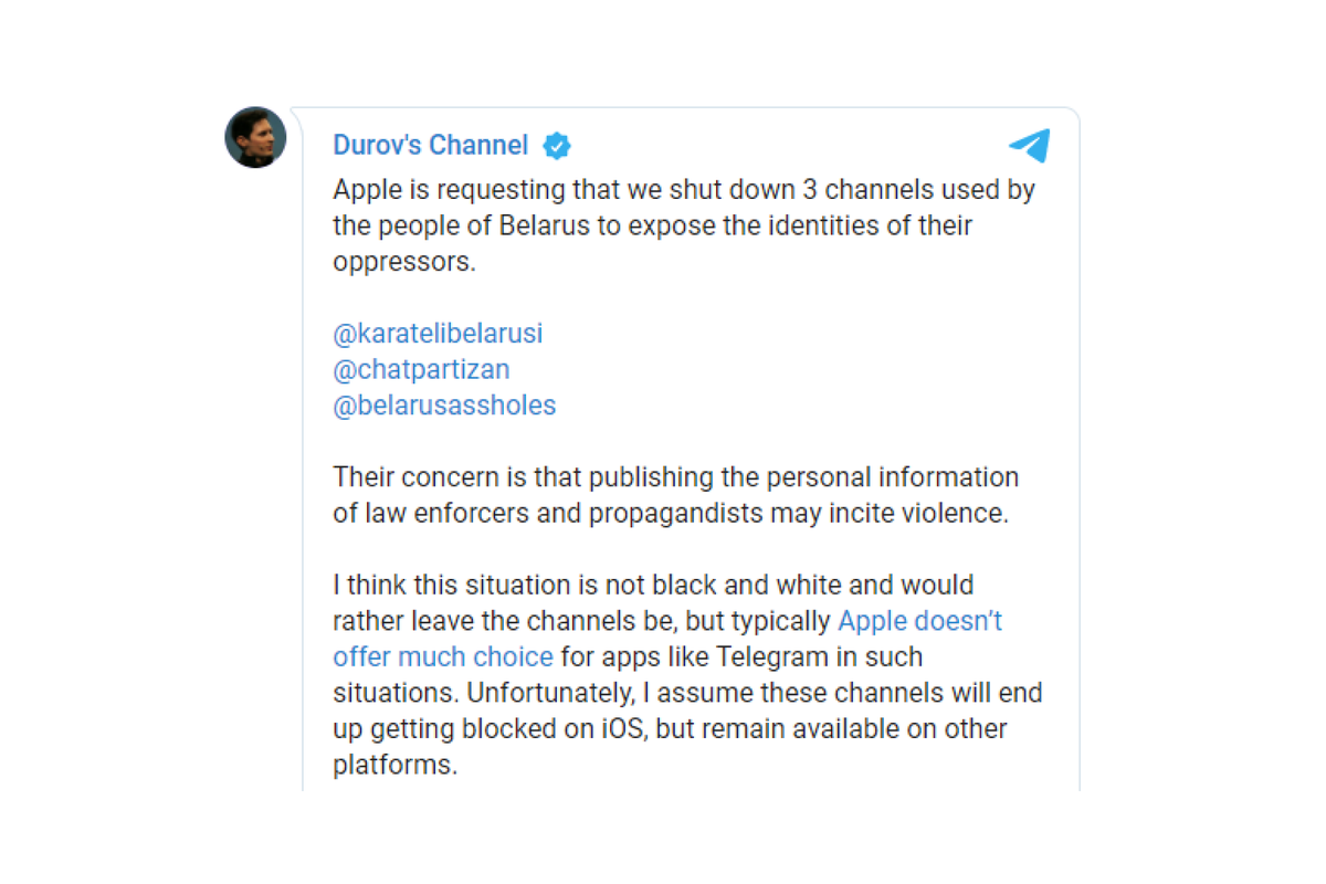Apple requests Telegram to shut down chat channels of the Belarusian opposition