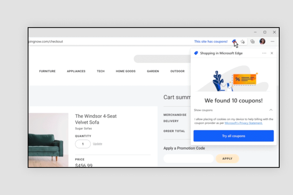 Microsoft Edge Browser will now automatically apply discount codes for online shops