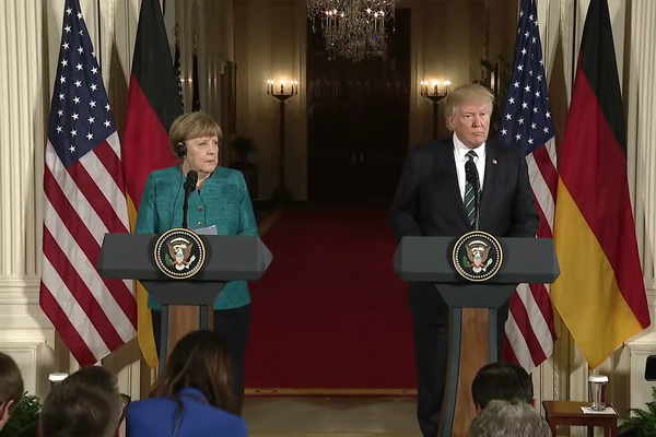 German Chancellor Angela Merkel and U.S. President Donald Trump at a joint press conference in the White House