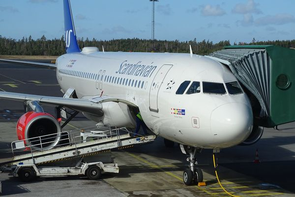 SAS plane at Gothenburg Landvetter Airport, Sweden