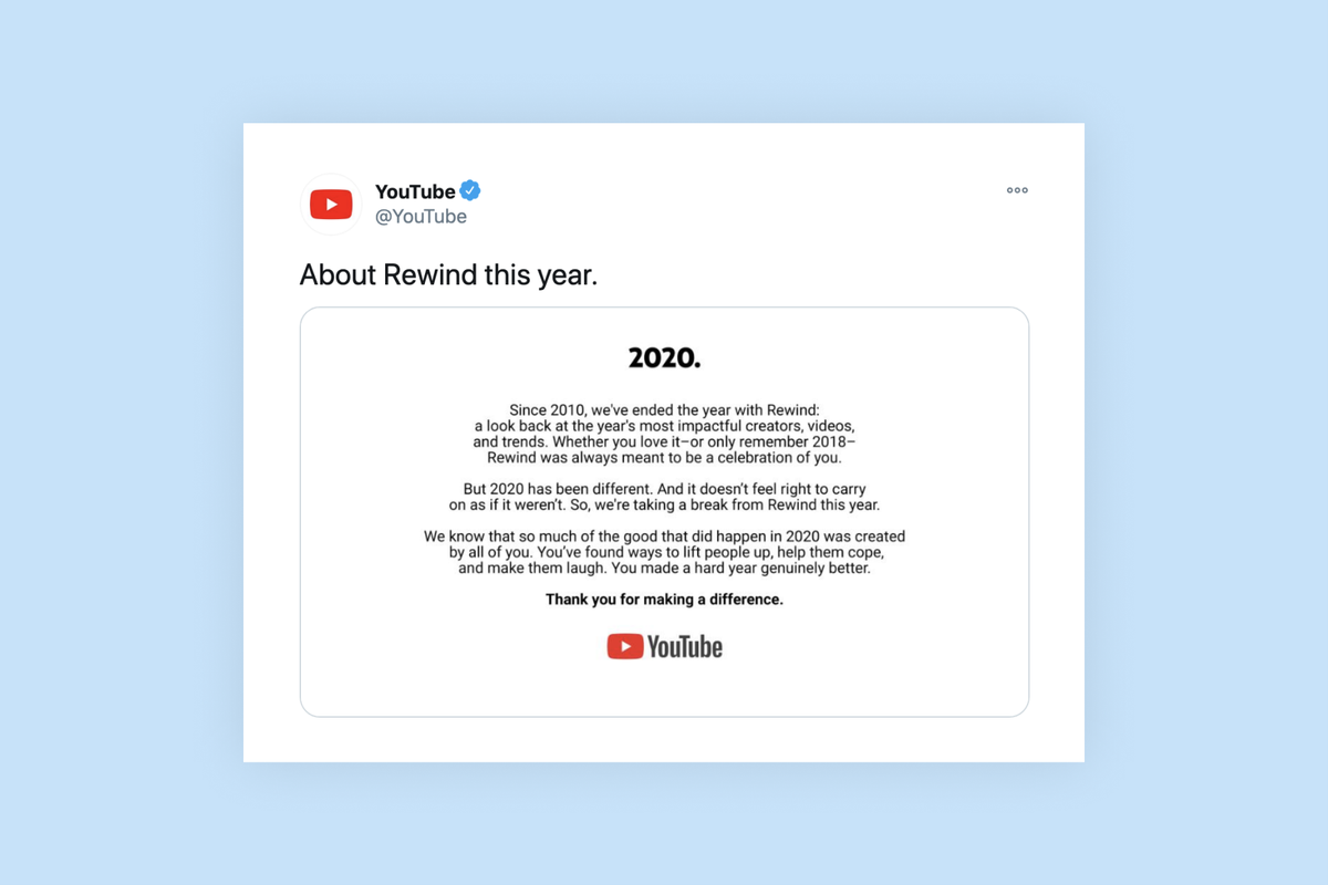YouTube has cancelled its Rewind video this year