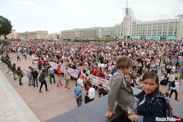 Thousands of Belarusians protest peacefully as Lukashenko claims foreign attack on country