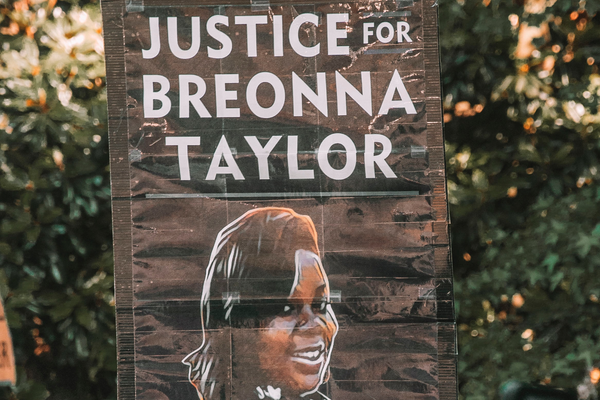 A sign at BLM protest in Atlanta, demanding Justice for Breonna Taylor