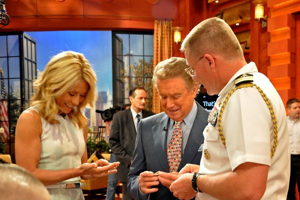 The late Regis Philbin with Kelly Ripa and Capt. Mark Genung, May 2010