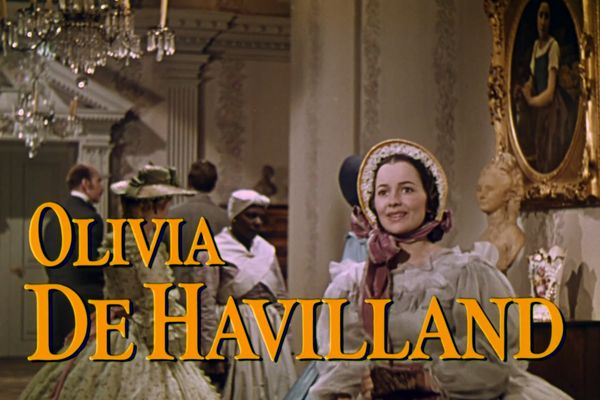 Screenshot of Olivia de Havilland from the trailer for the film Gone with the Wind