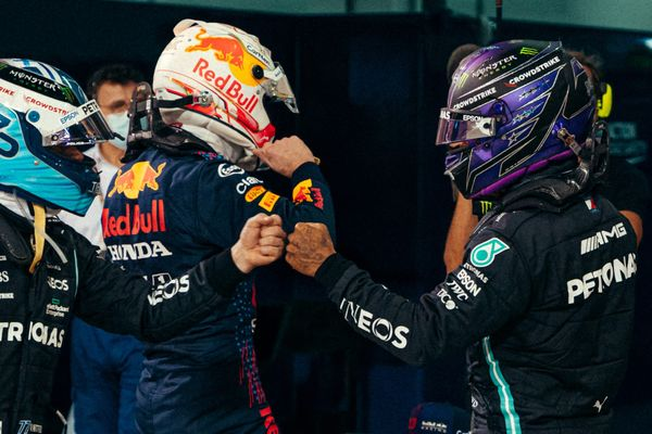 Bottas, Verstappen and Hamilton after the Bahrain Grand Prix qualifying