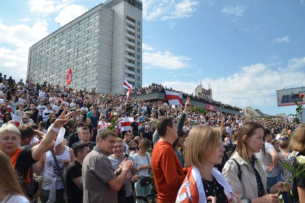 Belarus protesters in Minsk on August 15