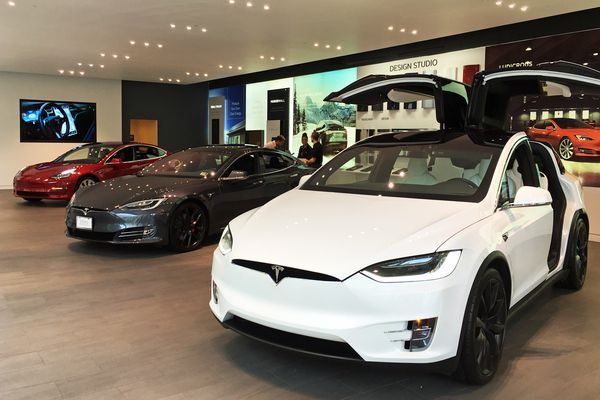 Lineup of Tesla's electric cars exhibited at Tesla Store Washington D.C.